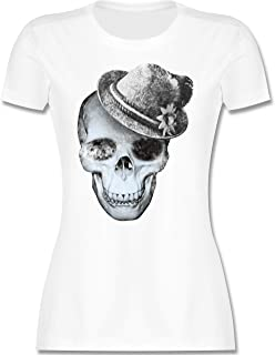 Shirtracer Oktoberfest & Wiesn Damen - Totenkopf mit Filzhut - Tailliertes Tshirt für Damen und Frauen T-Shirt
