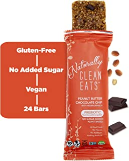 Vegan Protein Bars | Naturally Clean Eats Gluten-Free Snacks for Healthy Energy & Nutrition | Made with Prebiotics, No Added Sugar & All-Natural Ingredients | 24 Count Peanut Butter Chocolate Chip