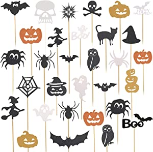 125 Pieces Halloween Cupcake Toppers Picks Halloween Cupcake Decorations for Halloween Birthday Party Supplies