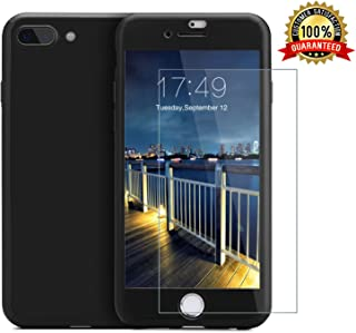 iPhone 7 Plus case/iPhone 8 Plus case,360 Full Body Protection Anti-Scratch Resistant Slim Case Non Slip Surface Tempered Glass Screen Protector iPhone 7 Plus/iPhone 8 Plus (Pure Black)