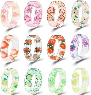 خواتم عريضة ملونة من الاكريليك والراتنج للنساء، خواتم بلاستيكية شفافة مفتوحة بنمط كلاسيكي، هدايا للنساء والفتيات