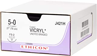 Ethicon Coated VICRYL (polyglactin 910) Suture, J421H, Synthetic Absorbable, FS-2 (19 mm), 3/8 Circle Needle, Size 5-0, 27