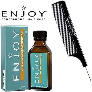 Enjoy Hair & Skin TREATMENT OIL (with Sleek Steel Pin Tail Comb) (1-PACK - 3.4 oz / 100 ml)
