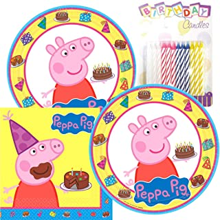 Lobyn Value Pack Peppa-Pig Party Plates and Napkins Serves 16 with Birthday Candles