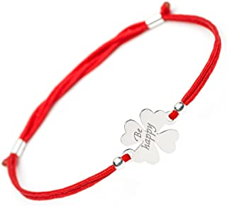 SOLOMIYA Good Luck Lucky Bracelet - 4 Leaf Clover Flower 925 Silver Charm - Adjustable Friendship Red String - Evil Eye Protection Bracelets for Womens