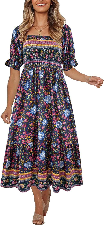 Peasant Dresses & Prairie Dresses Womens Boho Vintage Puff Sleeves Midi DressOff Shoulder A-Line Flowy Long Dresses $26.99 AT vintagedancer.com