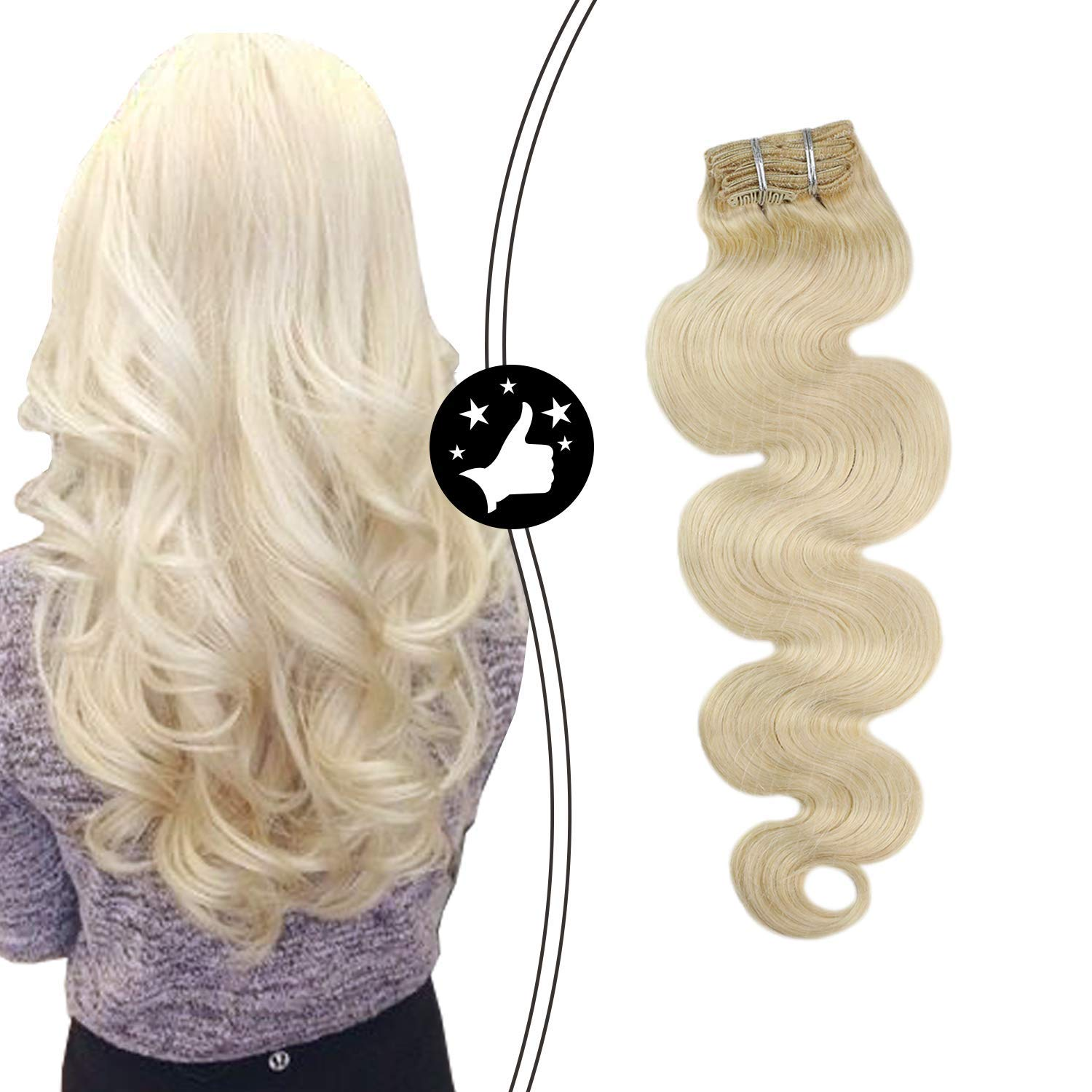 Moresoo Real Hair Extensions Clip Human in Blonde Exte Bombing free shipping Direct sale of manufacturer