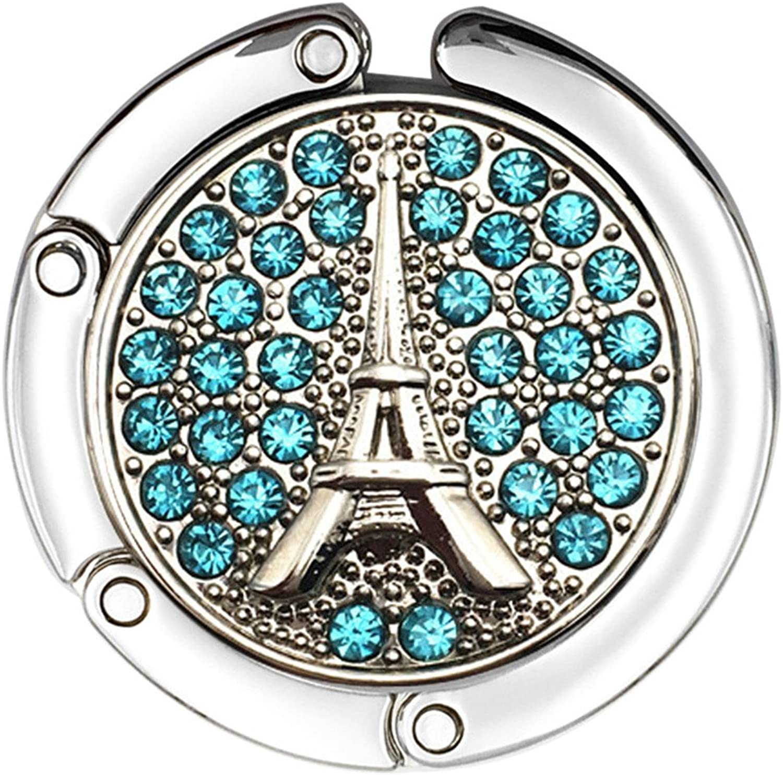 Reizteko Purse Hook,French Eiffel Tower Rhinestone Foldable Handbag Purse Hanger Hook Holder for Tables (Skybluee)