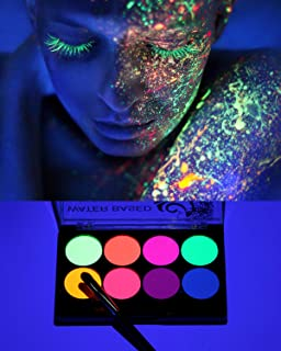 UV Face Paint Kit, Body Neon Fluorescent Painting 8 Bright Colors Professional Brush, Water Based Black Light Make-Up for ...
