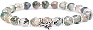 Natural 6MM Gemstone Beaded Stretch Bracelet Gold & Silver Plateing Beads with Charm Pendant