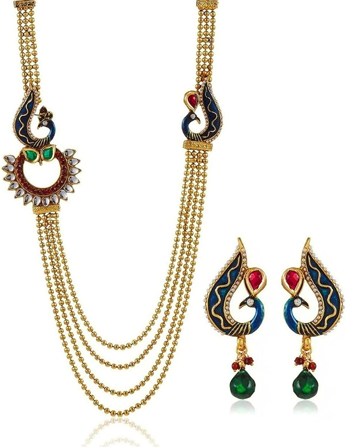 Royal Bling Knock-Knock Peacock Multi-Layer Indian Jewelry Set