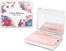 Cherry Blossom Face Oil Blotting Paper Sheets with Makeup Mirror - Oil Absorbing Sheets made in Japan (100 Count, Cherry Blossom)