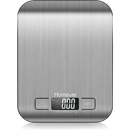 Balance de Cuisine Électronique, Pese aliment cuisine numérique, Balance de patisserie pro avec Tare /écran LCD/Acier Inoxydable, Plate-forme de 18 x14 cm,Capacité Max à 5 kg par paliers de 1 g