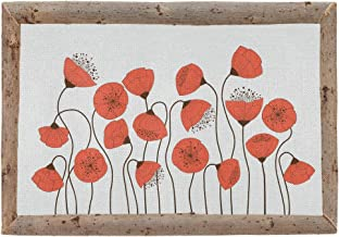 vvfelixl Poppy Flowers in Frame Made of Dry Tree Branches 4PCS Placemats Linen Cloth for Holiday Party Burlap Table Mats Heat-Resistant Dining Home Decorations Non Slip Everyday Use 18
