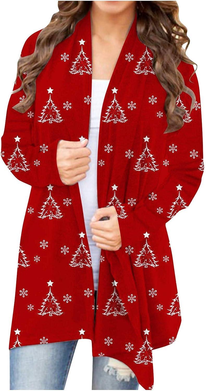 Women's Christmas Cardigan Long Sleeve Open Front Knit Sweater Overwear Coat Plus Size Sweatshirt