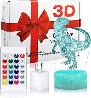 LED Dinosaur Night Light, Woffice 3D Illusion Touch &Remote Control Desk Lamp with Outlet Adapter, 7 Main Colors + 16 Gradient Colors Change, Best Birthday Christmas Gifts Toys for Kids Boys Girls