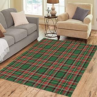 Pinbeam Area Rug Green Christmas Checks Tartan Red Plaid Pattern Scottish Home Decor Floor Rug 5' x 7' Carpet