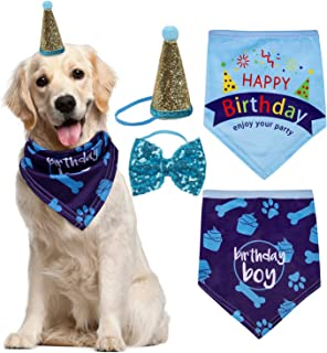 Petsvv Dog Birthday Bandana Pink Scarves with Cute Birthday Party Hat and Bow Tie - Great Birthday Gift Decorations and Party Supplies for Pet Girl