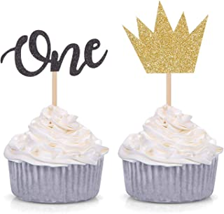 24 Counts Wild ONE Cupcake toppers - Boy First Birthday Party Decorations - Gold Crown and Black One Picks