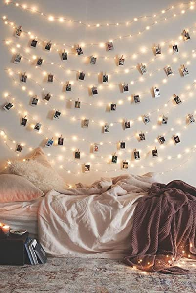 Photo Clip String Lights 17Ft 50 LED Fairy String Lights With 50 Clear Clips For Hanging Pictures Photo String Lights With Clips Perfect Dorm Bedroom Wall Decor Wedding Decorations