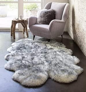 HUAHOO Genuine Sheepskin Rug Real Sheepskin Blanket Natural Fur (Quarto/4ft x 6ft, White/Gray)