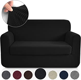 RHF 2 Separate Pieces Loveseat Cover, Slipcovers for Couches and Loveseats with Separate Cushion Cover Jacquard High Stretch Loveseat Slipcover(Loveseat: Black)