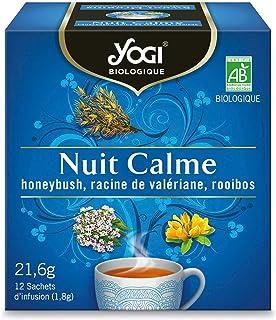 Yogi Biologique Nuit Calme, Infusion 100% Bio Honeybush, Valériane et Rooibos, 12 Sachets thermosoudés et sans agrafe, 21....