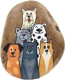 Perros Graciosos, Piedra Pintada a Mano, para Colgar, Decoración de Pared
