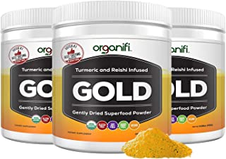 Organifi: Gold - Superfood Supplement Powder- 30 Day Supply - Experience Deeper Sleep- Boosts Immune System and Cognitive Function - Turmeric and Reishi Infused - Detox Overnight
