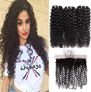 Kinky Curly Human Hair Bundles with Frontal 16 18 20+14 inch 9A Mongolian Curly Virgin Hair Weave with Lace Frontal 13X4 Free Part 100% Unprocessed Hair Weft Extensions Natural Black Color