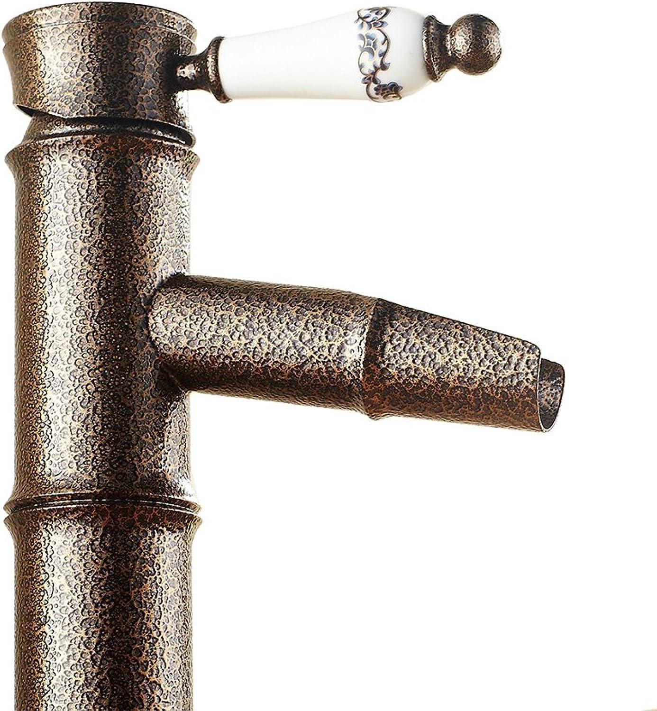 LNC Nostalgie Retro bronziert Wasserhahn Bambus Stil Einzelgriff für Waschbecken und Spülbecken