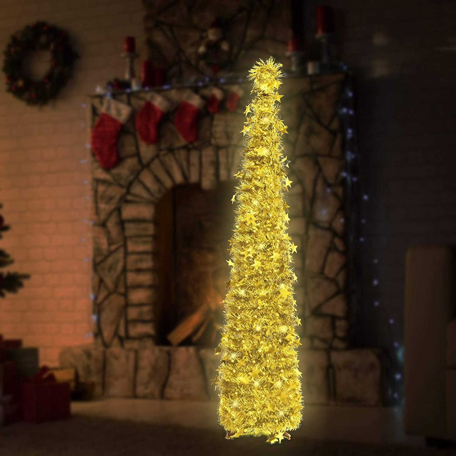 6ft Christmas Tinsel Tree String Lights with Decorati Animer Limited price sale and price revision