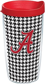 Tervis Alabama Crimson Tide Houndstooth Tumbler with Wrap and Red Lid 16oz, Clear