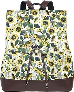 Ahomy Damen Leder-Rucksack Cartoon Sonnenblumen Flied Wasserdicht Anti-Diebstahl Mode Schule Rucksack Casual Daypacks