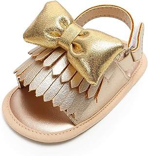 Kuner Unisex Baby Tassel Rubber Sole Non-Slip Summer Prewalker Sandals First Walkers
