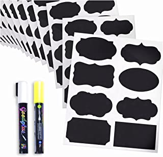 Chalkboard Labels - 112 Waterproof Stickers of Assorted Shapes & Sizes - Pantry and Storage - Reusable Labels for Jars: Mason, Spice, Glass, Cups, Bottles & Canisters with 2 Easy to Ink Marker