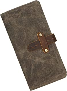 Men's Purse Canvas Foresighted Belt Retro Multifunctional Raincoat Wallet Fashion Clutch Man Wallets (Color : Bronze, Size...