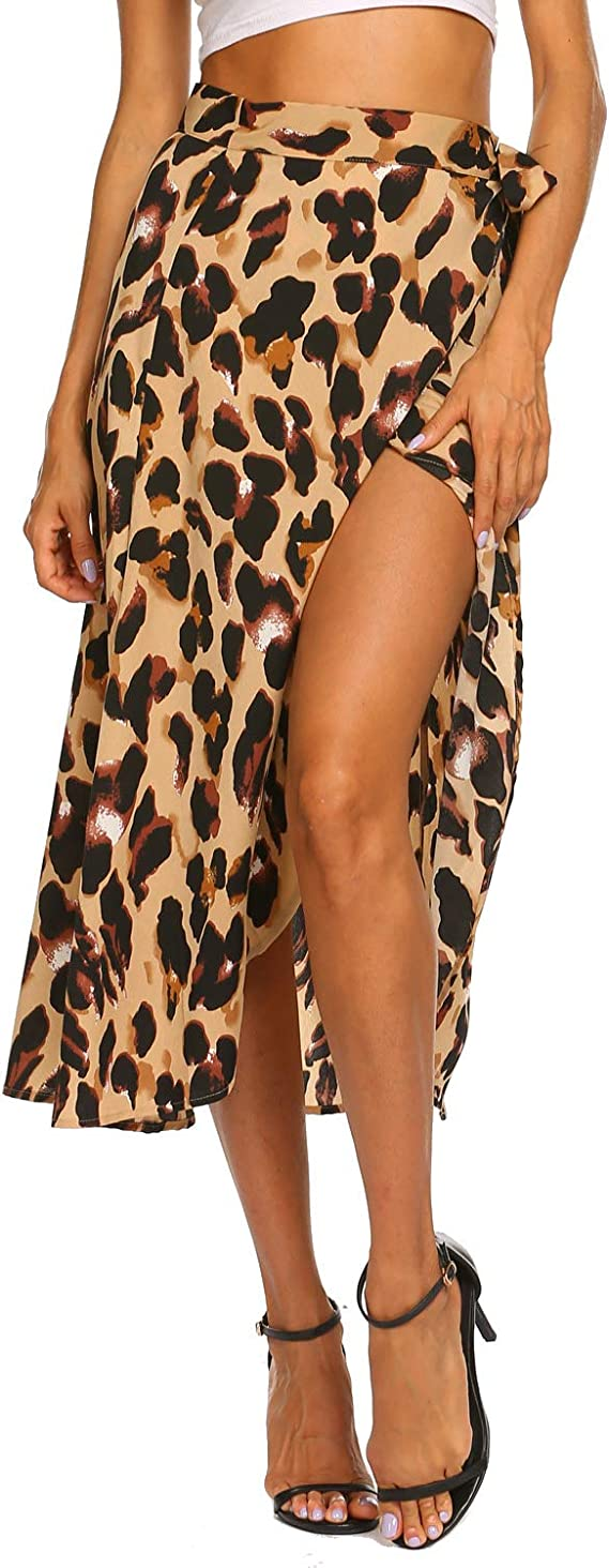 Newchoice Women's Boho Leopard Skirt High Low Split Summer Beach Midi Wrap Skirts