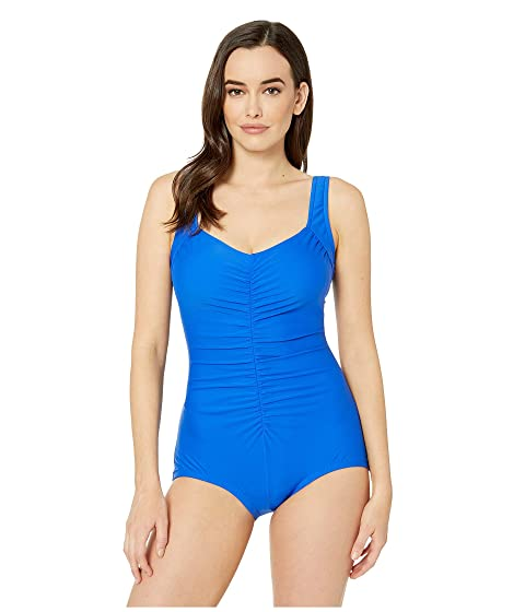 68495eb1a4c2a Maxine of Hollywood Swimwear Solids Tricot Shirred Girl Leg One-Piece