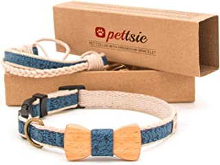 Matching Dog Collar Bow Tie & Owner Friendship Bracelet, Adjustable Size X-Small, Small & Medium, Durable, Pet-Friendly Hemp with Fancy Pattern, Comfortable & Strong, Great Gift for Dog Lovers