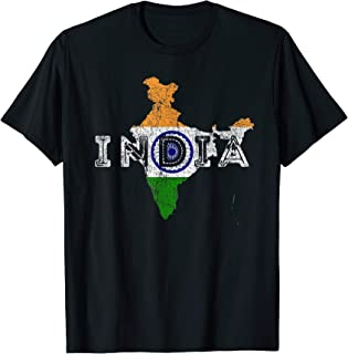 Indian Map and Flag Souvenir - Distressed India T-Shirt