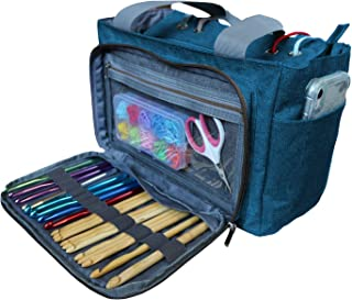 Vondrak Yarn Bags and Totes for Crochet and Knitting Bags and Totes Organizer Crochet Tote Bag and Yarn Organizer with 31 Compartments (Blue Turquoise)