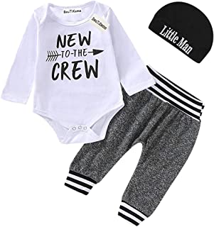 3PCS Outfits Set Newborn Baby Boy Clothes New to The Crew Letter Print Romper+Long Pants+Hat