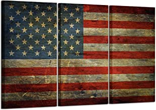 Kreative Arts - 3 Panel Retro America Flag Canvas Wall Art Honored Nation Symbol Picture Framed and Stretched USA Flag Canvas Print Wall Decor for Office Decoration