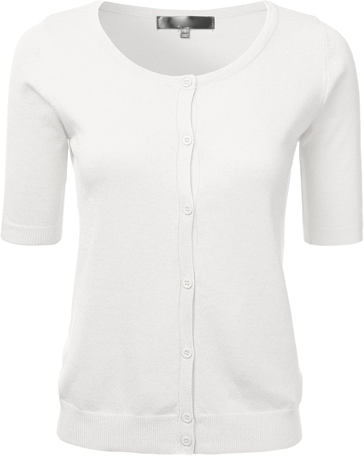 Womens Button Down Fitted Short Sleeve Fine Knit Top Cardigan Sweater