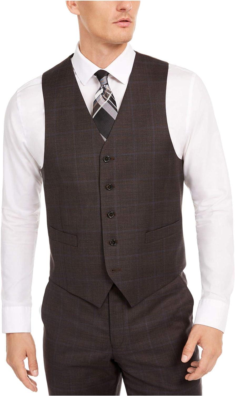 Lauren Ralph Lauren Mens Hitchcock Wool Blend Windowpane Suit Vest