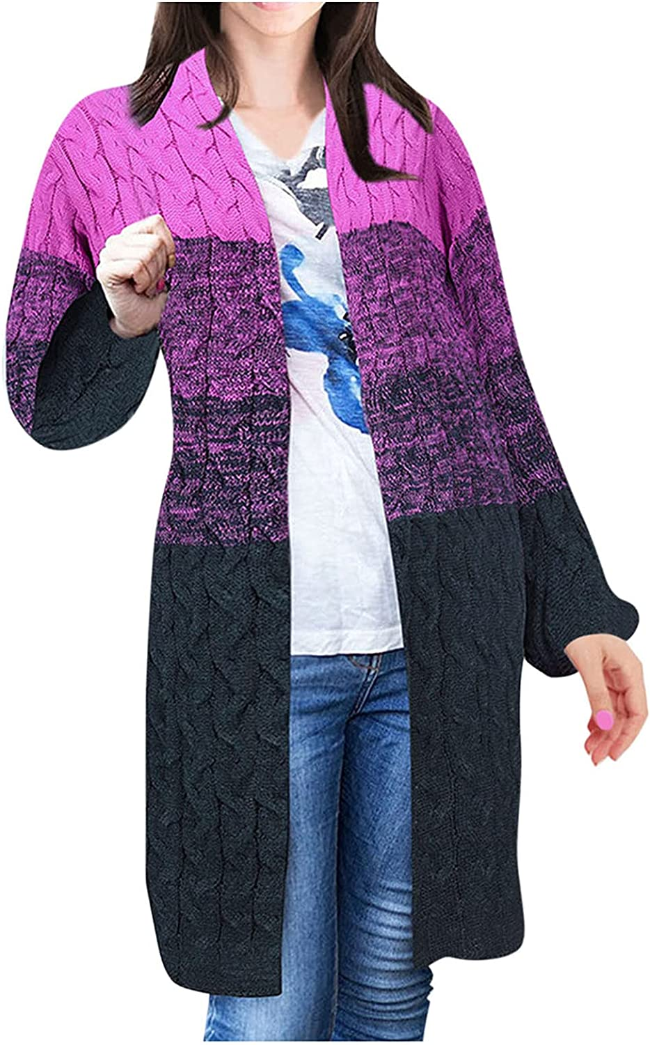 Popular shop is the lowest price challenge Womens Knit Cardigan Open Front Gradient Long Color Block Sleeve shop