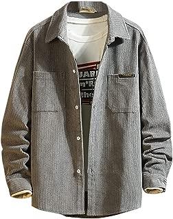 Men's Casual Fashion Pure Color Lapel Corduroy Long Sleeve Shirt Top Blouse
