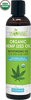Organic Hemp Seed Oil by Sky Organics (8oz) 100% Pure Cold-Pressed Hemp Oil –High in Omega 3-6-9 Fatty Acids- Not CBD oil- Sativa Oil- Food grade, Non-GMO, Cruelty Free- Great for dry skin