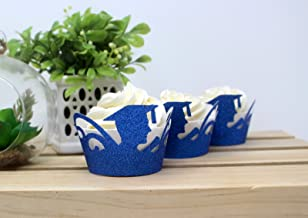 All About Details Male Graduate Cupcake Wrappers,12pcs (Glitter Blue)